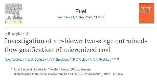Latest publication in a peer-reviewed  journal  FUEL